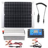 Eficiente Solar Sistema alimentado 40W Puertos USB duales Solar Panel e inversor de corriente 2000W y controlador 10A