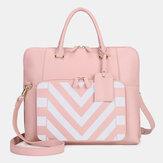 Women Design Striped Business Elegant Handbag Multifunction Crossbody Bag