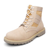 T02 Outdoor 14CM Men Martin Leather Mid-calf Boots Military Desert Casual Working Army Hiking Shoes