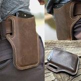 Ekphero男性ヴィンテージカジュアル本革6.3 / 7.2インチ電話バッグウエストバッグポーチ革ベルトバッグ財布