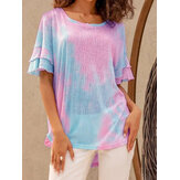 Women Summer Color Gradient Ruffle Sleeve High Low Hem Daily Casual T-shirt