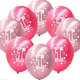 10 Per Set Pink Girl 1st Birthday Printed Pearlised Balloons Christmas Decoration