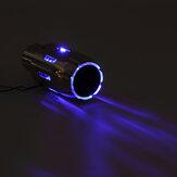 Universal Auto Auspuff Schalldämpfer Rohr 54mm IN 76mm OUT + Blau / Rot LED Licht