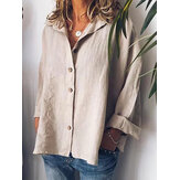 Women Solid Color Long Sleeve Button Down Front Shirts