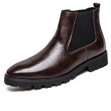 Original              Men Vintage Elastic Slip-on Business Leather Ankle Chelsea Boots