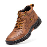 Men Hand Stitching Microfiber Leather Non Slip Soft Outdoor Casual Ankle Boots
