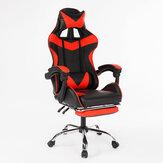 Ergonômico de Volta Alta Estilo de Corrida Reclinável Cadeira de Escritório Cadeira Giratória Ajustável Cadeira de Couro PU Gaming Gaming Cadeira de Mesa Portátil com Apoio para os Pés