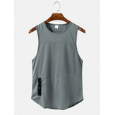 Men Mesh Breathable Woutout Active Tank Tops With Zipper Pockets