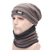 メンズPlusベルベットニット帽子スカーフセットイヤーマフビーニーハット
