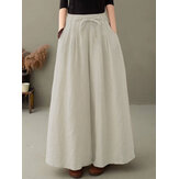 Women 100% Cotton Solid Color High Drawstring Waist Plain Casual Wide Leg Pants