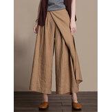 Kadınlar Casual Pileli Düz Renk Geniş Bacak Cebi Pantolon