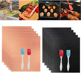 40*33cm Barbecue Mat High Temperature Resistant BBQ Pad Non Stick Fiberglass Barbecue Paper Oil Brush