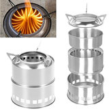 Stainless Steel Camping Stove Potable Wood Burning Stoves Backpacking Stove for Outdoor Hiking Picnic BBQ