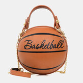 Women Unique Design Basketball Football Look Mini Round Bag Hangbag Fashion Adjustable Shoulder Bag Cross Body Bag