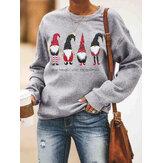Женщины мультфильм Санта-Клаус печати Рождественский пуловер с длинным рукавом кофты