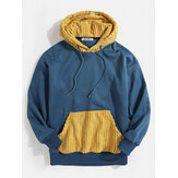 Mens Solid Color Patchwork Pocket Simple Drawstring Hoodies