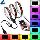 1M / 3M / 5M bluetooth APP 5050 RGB LEDストリップライトテープIP65防水USBバックグラウンドランプ5V