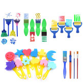 28 Pcs Sponge Painting Brushes Kit Sponge Drawing Shapes Paint Craft Brush for Toddlers Assorted Pattern for Kids Early Learning