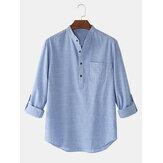 Algodón para hombre color sólido cuello alto transpirable manga larga henley camisas
