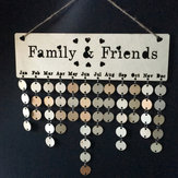 Laser Engraving Family Friends Birthday Reminder Calendar Wall Hanging Crafts DIY Wooden Board Plaques Home Decorations