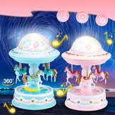 Carousel Music Box Starry Light 3-horse Automatic Lifting Rotating Girls Gift
