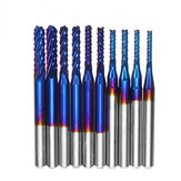 10pcs 1/8 Inch Shank Milling Cutter 1.5mm -3.175mm Blue Nano Coated End Mill CNC Router Bits Set