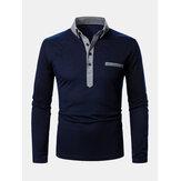 Camicie da golf casual a maniche lunghe con risvolto bicolore da uomo con tasca