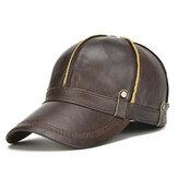 Boné de beisebol masculino Couro Genuíno quente com abas de orelhas ajustáveis espessas vintage Chapéu