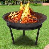 20inch Outdoor Fire Pit Steel BBQ Grill Fire Pit Bowl Round Wood Burning Barbecue Stove Camping Picnic Bonfire Patio