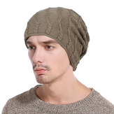 Mens Winter Warm Cotton Knitted Beanie Causal Thickening Windproof Caps Outdoor Stretchable Hats