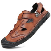 Men Genuine Leather Slip Resistant Anti-collision Toe Sole Casual Sandals