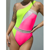 Contrast Color Hollow Out One Piece Beach Swimsuits With Pad