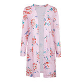 Floral Print Pocket Loose Long Sleeve Women Cardigans