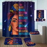 Afrikanische Frau wasserdicht Duschvorhang rutschfeste Badezimmer WC-Abdeckung Mat Set