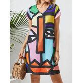 Абстракция Шаблон V-образный вырез с короткими рукавами и принтом Платье For Женское