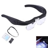 1.5X 2.5X 3.5X 5X Head Mount Glasses Magnifier, USB Charging Headband Magnifying Glass with 2 Led Lights Headset Magnifier Loupe