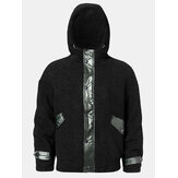 Mens Patchwork Fluffy Double Pocket Warm Lining Hoodie Jacket