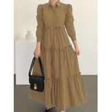 Women Solid Color Puff Sleeve Loose Layered Pleated Lapel Maxi Dress