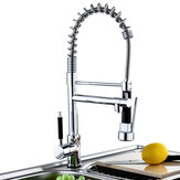 Kitchen Sink Mixer Faucet Pull Out Sparyer Tap 360 Degree Rotation Single Handle Chrome Brass Brushed Tap Collapsible