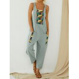 Ethnic Print Patchwork Loose Side Pocket Vintage Harem Jumpsuit Overalls For Women