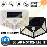 100LED Solar Motion Sensor Wall Light Outdoor Garden Lamp Waterproof Security Lighting for Home Path