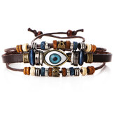 Multilayer Beaded Armband Eyeball Hand Geweven Kunstleder Armband voor Vrouwen Mannen