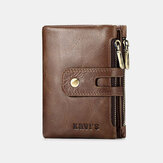 Men Genuine Leather Multi-slots Retro Large Capacity Foldable Card Holder Coin Wallet