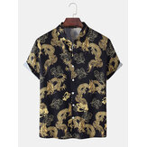 Mens Ethnic Style Dragon Print Button Up Short Sleeve Cotton Casual Shirts