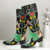 SOCOFY Retro Embroidered Comfy Wearable Slip-on Block Heel Mid-calf Boots