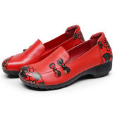 SOCOFY Retro Flowers Printing Comfy Soft Sole Casual Leather Flat Shoes