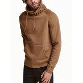Suéteres masculinos sólidos com cordão alto e pescoço canguru