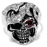 Joyería de moda de Halloween de acero inoxidable Cráneo Head Zircon Ring for Men