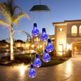 Lâmpada LED com luz solar carrilhão de vento com mudança de cor para jardim lâmpada de cobre
