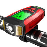 BIKIGHT 3 em 1 350LM COB Bike Light + USB Horn Lamp + Speed Meter LCD Tela 5 modos à prova d'água para bicicleta farol com corneta